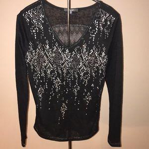 Miss Me Black Shiny Studded Blouse Medium
